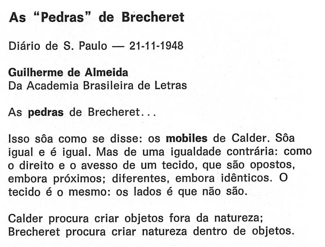 "As ""Pedras"" de Brecheret"